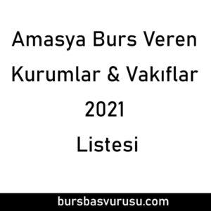 Amasya Burs Veren Kurumlar 2021